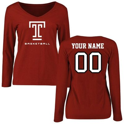 Temple Owls Women's Personalized Basketball Long Sleeve T-Shirt - Cardinal