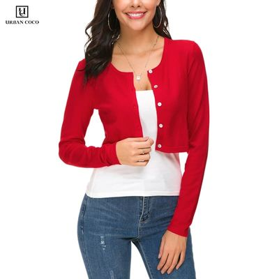 Urban CoCo Women's Button Down Crew Neck Casual Cropped Cardigan Long Sleeve Knitted Sweater Female