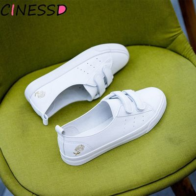 2020 Autumn Fashion Shoes Woman Casual PU Leather Shallow Simple Women Rose Floral Embroidery White Shoes Sneakers Breathable
