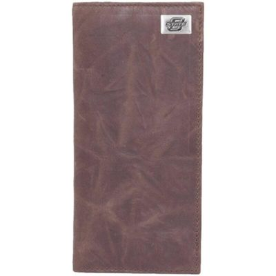 Oklahoma State Cowboys Leather Secretary Wallet with Concho - Brown