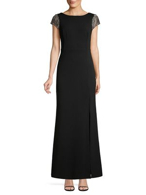Adrianna Papell Embellished Sleeve & Back Trumpet Gown