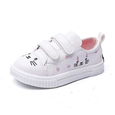 CUZULLAA Girls Fashion Sneakers Kids Cute Cat Decoration Sports Shoes Children Breathable Non-Slip Rubber Sole Casual Shoes