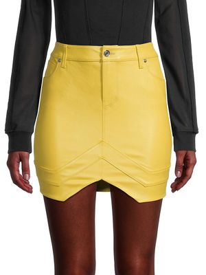 RtA Tempest Leather Mini Tulip Skirt