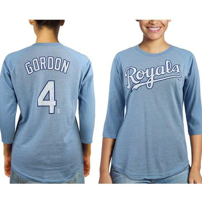 Alex Gordon Kansas City Royals Majestic Threads Women's 3/4-Sleeve Raglan Name & Number T-Shirt - Light Blue