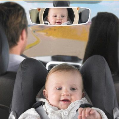 Cartoon Bear Adjustable Baby Car Back Seat Mirror Kids Safety Wide View Monitor Headrest Mount For Baby