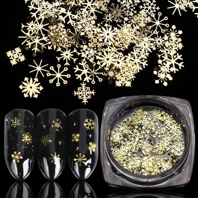 1 BOX Hollow Out Gold Nail Glitter Sequins Snow Flakes Mixed Design Decorations for Nail Arts Pillette Nail Accessories LA889-1