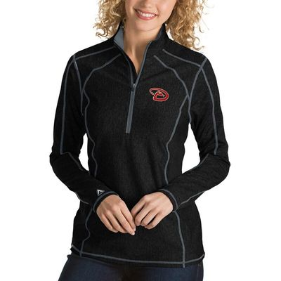 Arizona Diamondbacks Antigua Women's Tempo Desert Dry 1/4-Zip Pullover Jacket - Heathered Black