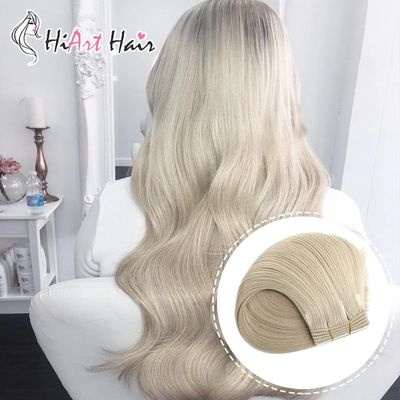 HiArt 100g Weft Hair Extensions Human Remy Hair Salon Super Double Drawn Hair Machine Made Weft Extension Straight Russian