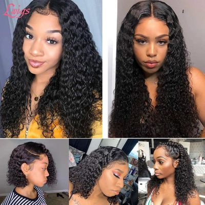 Short Bob Lace Front Human Hair Wig Brazilian Curly 13X6 Human Hair Wigs Pre Plucked U Part Lace Part Wig 360 Lace Frontal Wigs