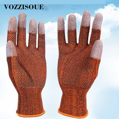 6 Pairs PU Anti-skid Garden Gloves Anti-electric Work Gloves Safety Grip Leather Working Gloves Light Weight Protection Gloves