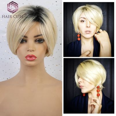 Haircube Synthetic Short Straight Hair Blend Wigs Women'S Bob Style 50% Human hair Pixie Cut Dark Root Blonde Wig for Women