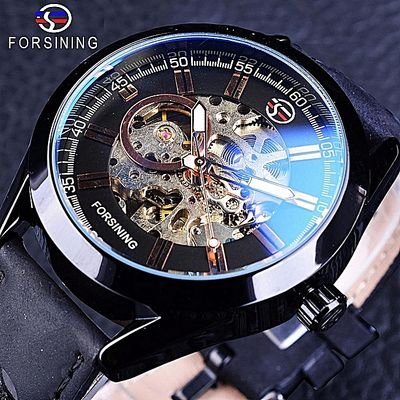Forsining GMT1019-10 Blue Hardlex Glass Black Genuine Leather Transparent Openwork Men Mechanical Automatic Watches Top Luxury Clock By HonTai