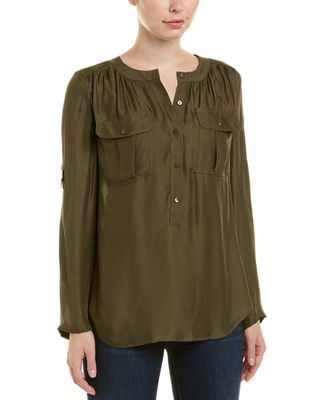 Trina Turk 3/4-Sleeve Silk-Blend Top