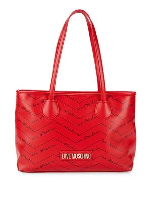 Love Moschino Logo-Print Faux Leather Tote