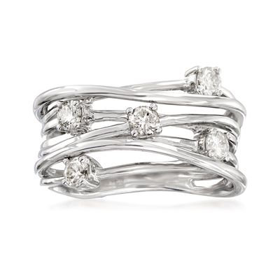Ross-Simons Diamond Highway Ring in Sterling Silver