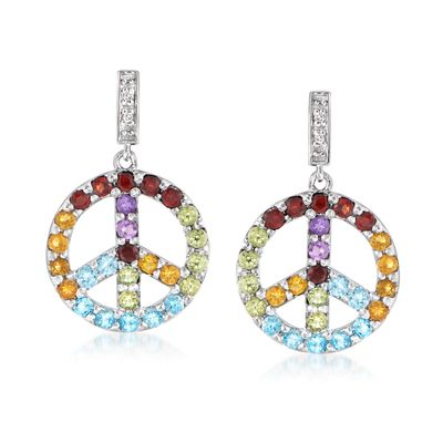 Ross-Simons Multi-Gemstone Peace Sign Drop Earrings With Diamond Accents in Sterling Silver