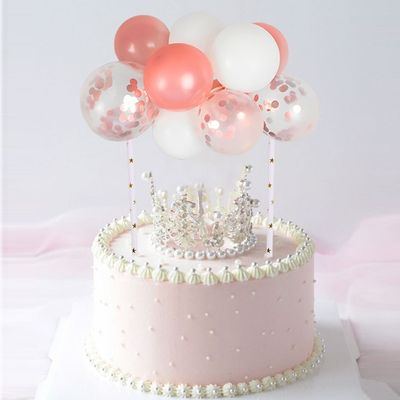 5inch Mini Colorful Latex Balloon Cake Topper With Rope Straws Baby Shower Birthday Wedding Party Balloon Cupcake Topper Decor