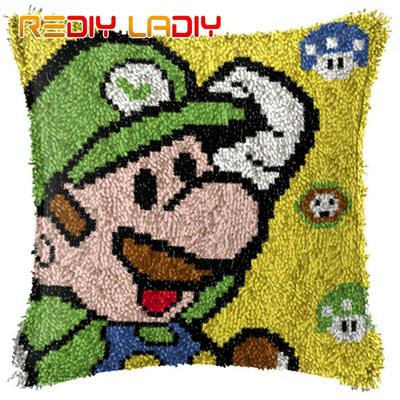 Latch Hook Kits Super Mario Cushion Cover Pre-Printed Color Canvas Crocheting Arts & Crafts Pillow Case Sofa Pillows Home Decor