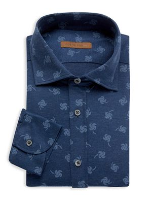Corneliani Abstract Palm Tree Dress Shirt
