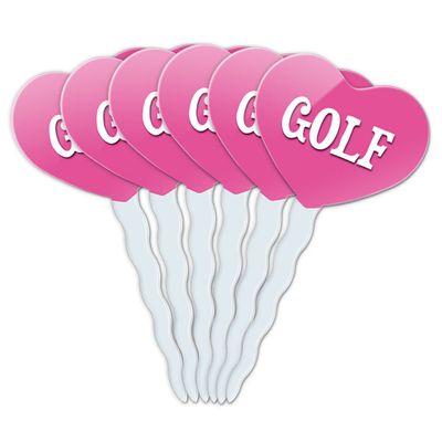 Golf Heart Love Cupcake Picks Toppers - Set of 6