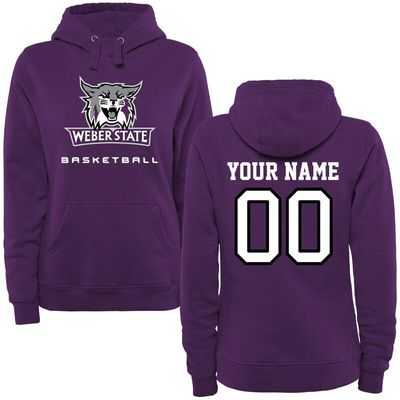 Weber State Wildcats Women's Personalized Basketball Pullover Hoodie - Purple