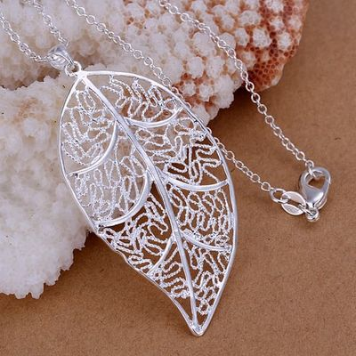 Silver color gorgeous Fashion charming popular exquisite leaves openwork classic necklace hot selling silver jewelry P187