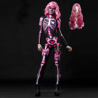 Pink Skeleton Halloween Cosplay Jumpsuit Wig Women Scary Costume Spooky Fancy Dress  Day of The Dead Mummy Horror Carnival Party