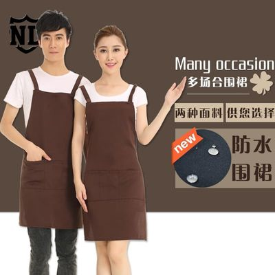 Simple cleanning apron with useful big pockets durable and washable apron solid color for both man and woman