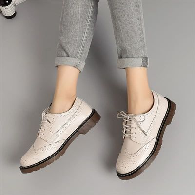 MALEMONKEY 912096 Women Oxford Loafers 2020 Fashion Autumn Oxford Flats Shoes Lace Up Genuine Leather Vintage Casual Shoes Women