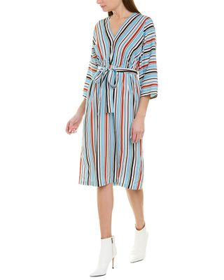 French Connection Multi Stripe V Neck 3/4-Sleeve Dress