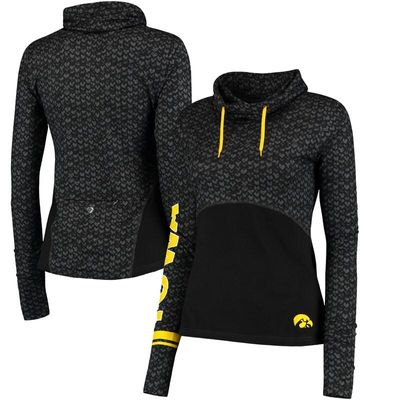Iowa Hawkeyes Colosseum Women's Scaled Cowl Neck Pullover Hoodie - Black