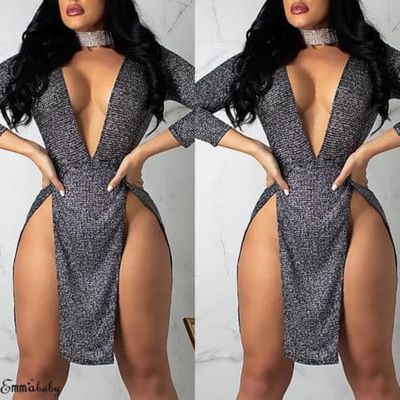New 2019 Women Sparkly V-Neck Bodycon Sequined Long Sleeve  Short Mini Dress Party  Clubwear
