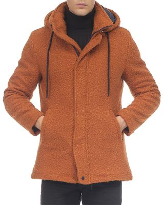Ron Tomson Grunge Hood Boucle Coat Quilted