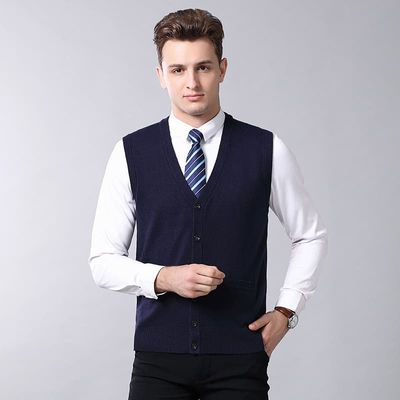 Men cashmere knitted sweater vest 2019 Autumn and Winter casual man solid V-neck wool cardigan vest