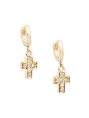 Danni 14K Yellow Gold & Diamond Cross Drop Earrings