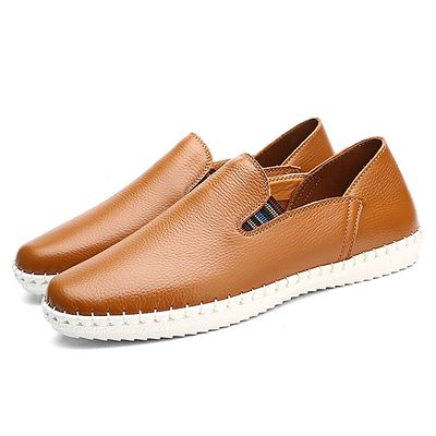 Breathable Leather Slip On Driver Boat Moccasins-Brown