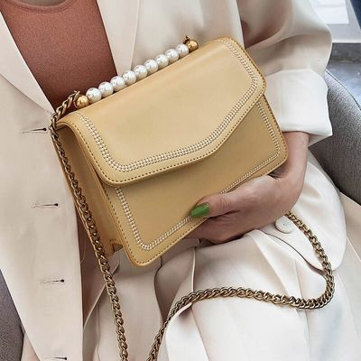 Pearl Design PU Leather Crossbody Bags For Women  Chain Shoulder Messenger Bag Ladies Small Travel Embroidery Handbags Pearl