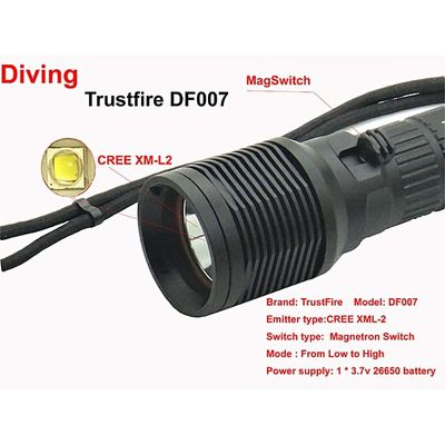 Waterproof DF007 Diving Flashlight XML-2 Magnetron Switch Underwater LED Light Without Battery