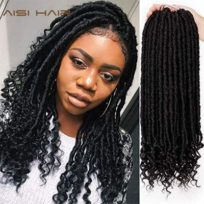 AISI HAIR Goddess Faux Locs Dreads Crochet Hair Braids Synthetic Hair Extension 16 inches Soft Natural 24 Stands/Pack