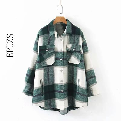 Autumn winter green plaid jacket and coat Fashion button long sleeve coat casual office warm outwear oversized ladies jackets