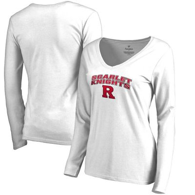 Rutgers Scarlet Knights Women's Proud Mascot Long Sleeve T-Shirt - White