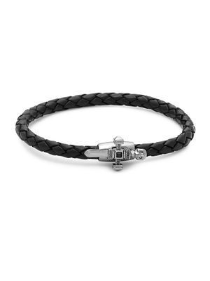 Link Up Onyx and Leather Skull Braided Bracelet