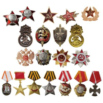 RED STAR FSB Pin WWII USSR Soviet CCCP Russia Russian Guards badge Imperial Eagle Emblem Lenin Badge honor medal Brooch pendant