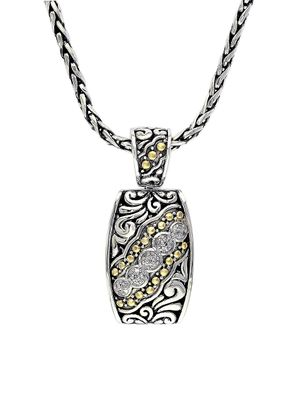 Effy Sterling Silver, 18K Yellow Gold & Diamond Scroll Pendant Necklace