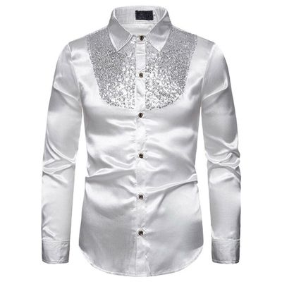 Men's Luxury Sequin Glitter Shirts New Long Sleeve Silk Satin Shiny Disco Party Shirt Men top Stage Dance Nightclub Prom Costume