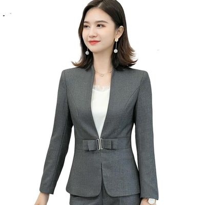 Grey Braze Female Fashion New Autumn Style Formal Long Sleeve Jacket Office Business Overcoat Maternity