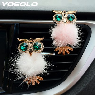 YOSOLO Crystal Owl Car Air Freshener Auto Outlet Perfume Clip Interior Accessories Car-styling Vent Solid Fragrance Diffuser
