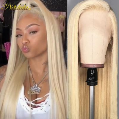 Nadula Hair 13*4/6 Blonde Lace Frontal Wig 150% Density Brazilian Straight Human Hair Wigs 613 Lace Front Wigs for Black Women