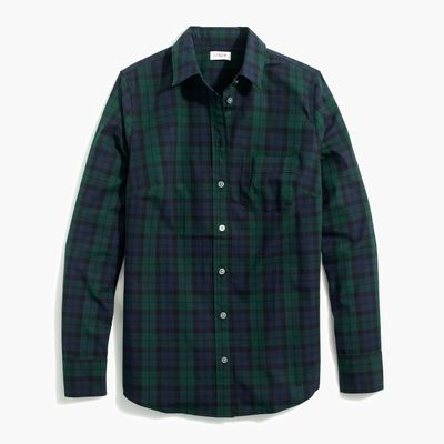 J.Crew Factory Black Watch Plaid Button-up Stretch Cotton Poplin Shirt In Signature Fit