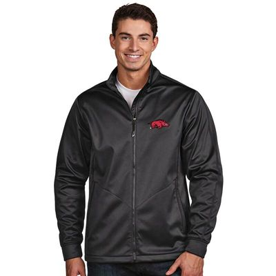 Arkansas Razorbacks Antigua Golf Full-Zip Jacket - Charcoal